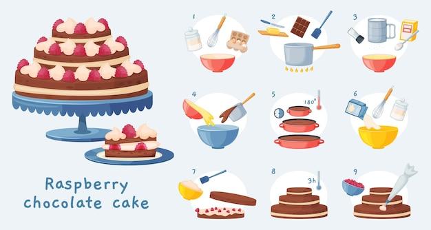 Kuchenrezept, nachtisch backen schritt für schritt anleitung. köstlicher geburtstagsschokoladenkuchen mit sahne, süße bäckereivorbereitungsvektorillustration. himbeer-leckerer gebäck-kochprozess