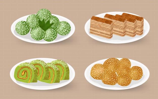 Kue jajanan tradisional indonesia - übersetzen indonesische traditionelle speisen und snacks aquarell handgemalte illustration