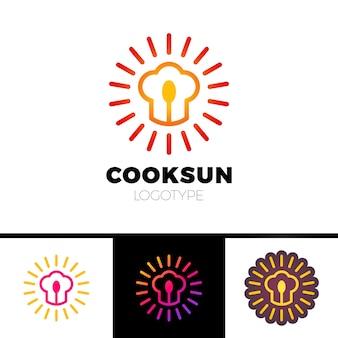 Küche, café, restaurant - vektorlogoschablonen-konzeptillustration. chefhut, -löffel und -sonne. sunny essen zeichen. design-elemente.