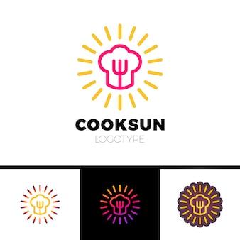 Küche, café, restaurant - vektorlogoschablonen-konzeptillustration. kochmütze, gabel und sonne. sunny essen zeichen. design-elemente.