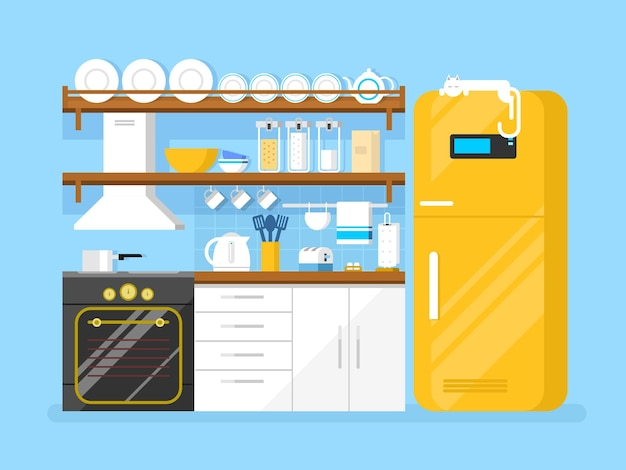 Küche flach stil. möbel und kühlschrank, toaster und teller, haube und pfanne, flache vektorillustration