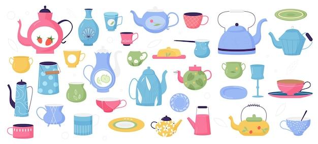 Küche keramik vintage geschirr set retro küchenutensilien oder geschirrkollektion
