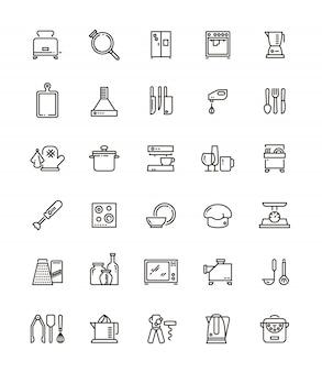 Küche, küchengeräte und haushaltsgeräte linie symbole.