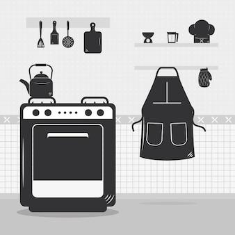 Küche mit herd und geschirr herum
