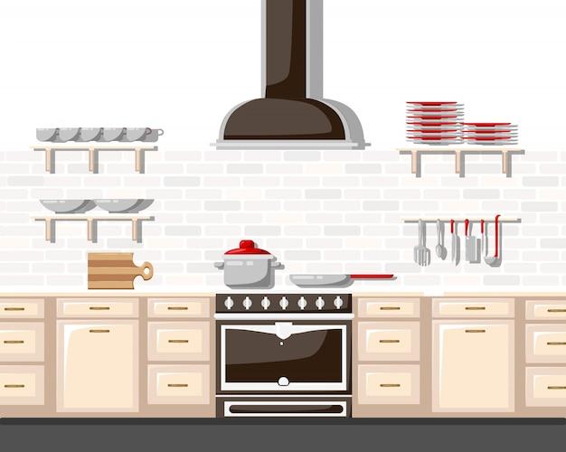Küche mit möbeln flache illustration. cartoon-stil für web, analytik, grafikdesign küche interieur in realistischem stil mit schränken regale utensilien ofen und dunstabzugshaube.