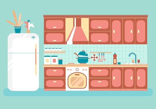 Küche mit möbeln.