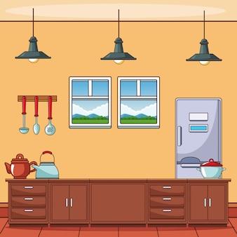 Küche mit utensilien