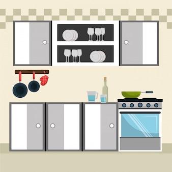 Küche moderne szene elemente Kostenlosen Vektoren