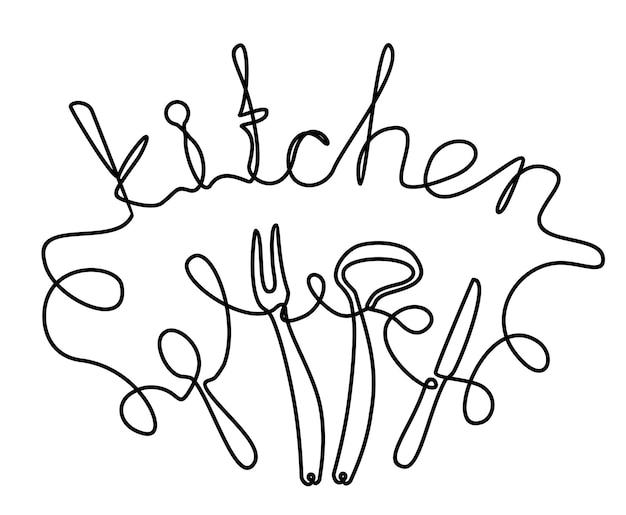 Küche. phrase handgeschrieben von einer zeile. monoline-vektortextelement isoliert auf weißem hintergrund.
