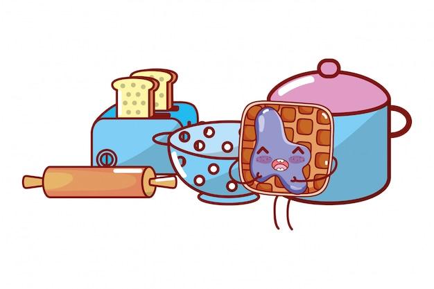 Küche und essen kawaii cartoons