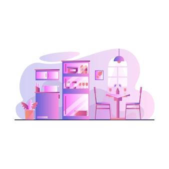 Küchen-esszimmer mit weinlese-artvektorillustration