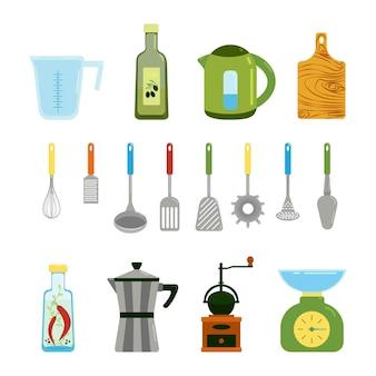 Küchenartikel set wasserkocher geysir kaffeemaschine verschiedene spachtel zum kochenvektor-clipart