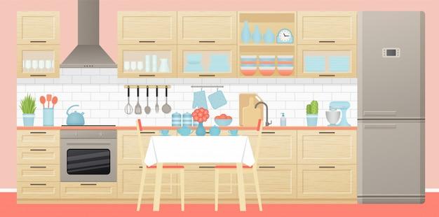 Küchenausstattung mit essbereich. illustration. flaches design.
