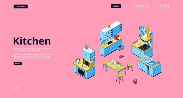 Küchenbanner. moderne möbel und kochgeräte für die hausküche.
