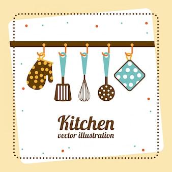 Küchendesign über gelber hintergrundvektorillustration