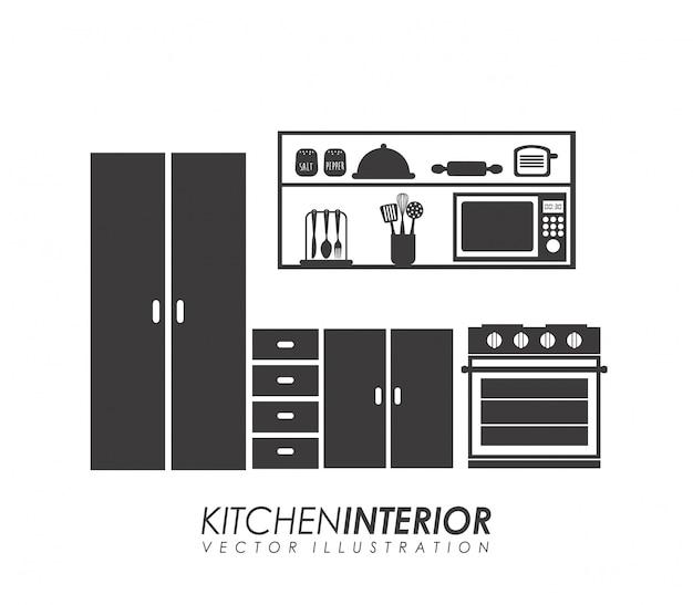 Küchendesign über weißer hintergrundvektorillustration