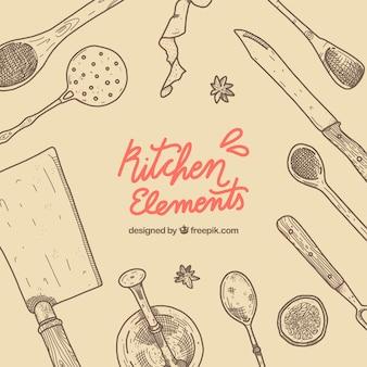 Küchenelemente mit hand gezeichneten stil