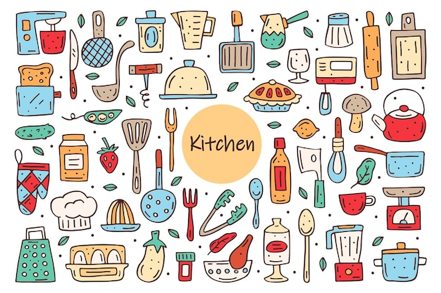 Küchenelemente süße doodle hand gezeichnet. kochgeräte lebensmittel küchenutensilien