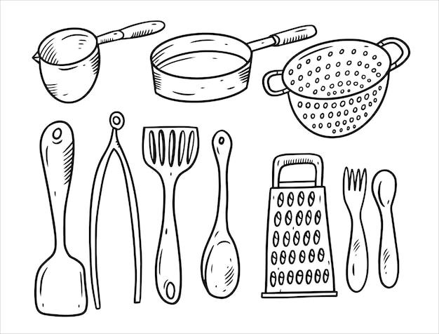 Küchengeräte kritzeln elementsatz lokalisiert auf weiß