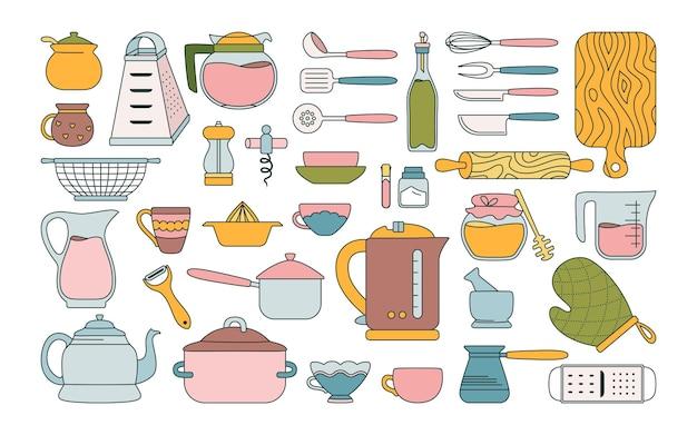 Küchengeräte linie flaches set. hand gezeichnete sammlungsobjekte der küchenutensilien
