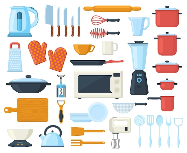 Küchengeschirr, das kulinarisches besteck, werkzeuge, utensilienelemente kocht. geschirr, küchengeräte und geschirr-vektor-illustration-set. küchenutensilien-elemente