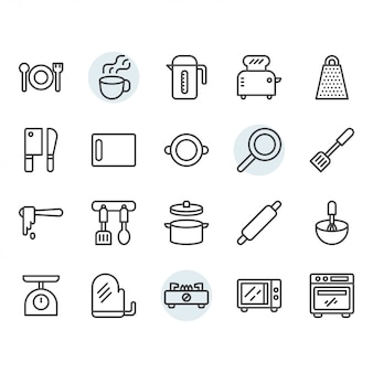 Küchengeschirr dünne linie icon-set
