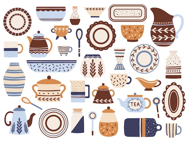 Küchengeschirr. keramikkochgeschirr, porzellantassen und glas. lokalisierte flache einzelteile des küchengeschirrs eingestellt