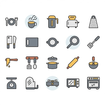 Küchengeschirr-symbol und symbolsatz