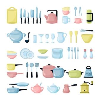 Küchengeschirr und glaswaren flache illustrationen gesetzt. buntes geschirr. teller, töpfe, besteck.