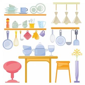 Küchengeschirr und utensilien für die küchenszene festgelegt
