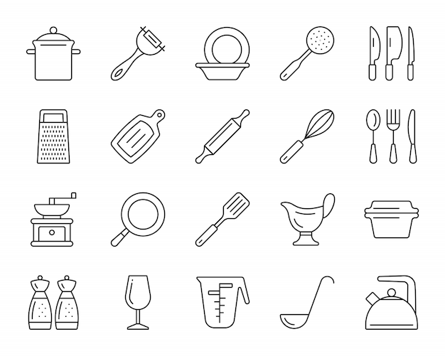 Küchengeschirrlinie ikonen stellte ein, einfaches zeichen des kochgeschirrs, dishware für das lebensmittelkochen.