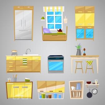 Kücheninnenmöbel und haushaltsgerät des esszimmers im möblierten innenillustrationssatz des einrichtungsdesignkühlschranks und des herdes lokalisiert auf hintergrund