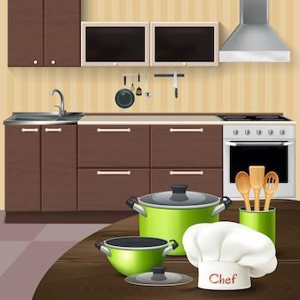 Kücheninnenraum mit hölzernen werkzeugen des realistischen grünen kochgeschirrs und chefhut auf brauner tabellenillustration