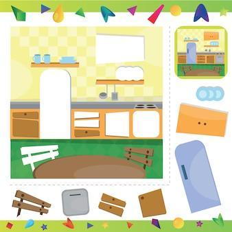 Kücheninterieur - teile des bildes ausschneiden und einfügen