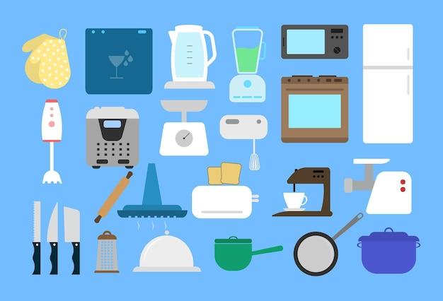Küchenmöbel und küchengeräte. küche eingerichtet. flaches design.
