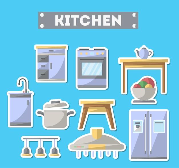 Küchenmöbelikone eingestellt in flache