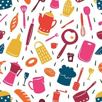 Küchenmuster mit verschiedenen kochwerkzeugen. fröhliche und helle illustration im flachen stil