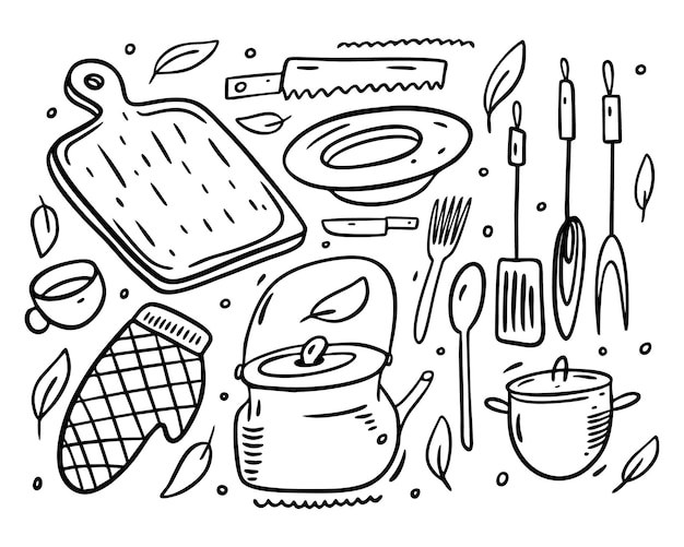Küchenobjektsammlungssatzikonen. doodle-stil. isoliert.