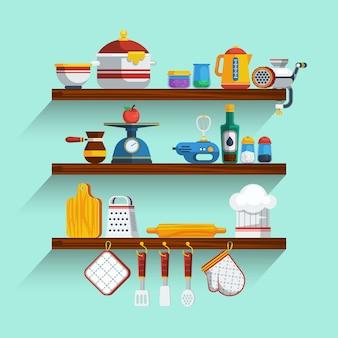Küchenregale eingestellt