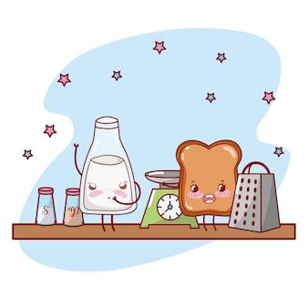 Küchenregalkarikatur kawaii karikatur
