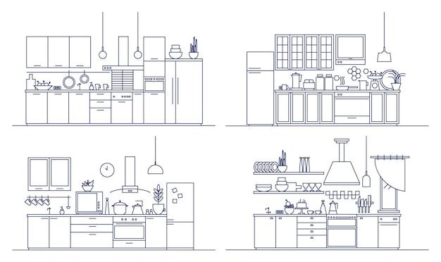 Küchenset mit modernen möbeln, haushaltsgeräten, kochgelegenheiten und wohndekorationen. ein bündel bequemer innenräume, die im kunststil gezeichnet sind. einfarbige vektorillustration.