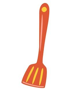 Küchenspatel auf weißem hintergrund isoliert. werkzeug zum kochen und grillen. küchenspatel utensilien oder geschirr nahaufnahme. flache cartoon-vektor-illustration.
