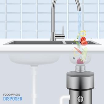 Küchenspüle mit den scheiben des gemüses fallend mit wasser in den realistischen lebensmittelabfallentsorger