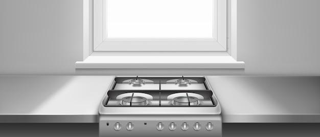 Küchentisch und gasherd mit kochfeldern und schwarzen stahlgittern. realistische darstellung des metallkochfelds und der grauen küchentheke nahe fenster. edelstahlofen zum kochen