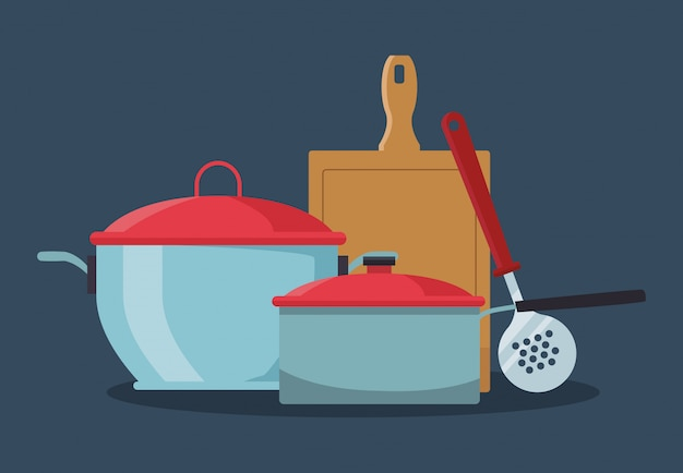 Küchentöpfe mit schneidebrett und abschäumer