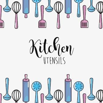 Küchenutensilien kulinarische sammlung hintergrund
