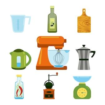 Küchenutensilien set wasserkocher mixer geysir kaffeemaschine gewürze in gläsern und olivenöl vektor-clipart