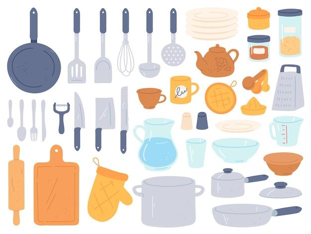 Küchenutensilien und utensilien. kochen backen küchenutensilien. kochausrüstung pfanne, schüssel, wasserkocher und topf, messer und besteck, flacher vektorsatz. gegenstände für die essenszubereitung und essenssammlung