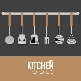Küchenutensilien-vektor-illustrationssatz von elementen