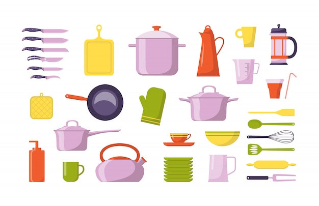 Küchenwerkzeug flache sammlung. stellen sie mit den geräten für das kochen ein, getrennt